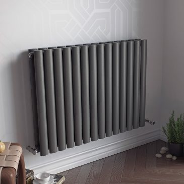 GUTHRIE LOW Double Modern Horizontal Oval Tube Radiator, Wide – Central Heating