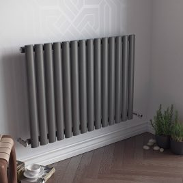 GUTHRIE LOW Single Modern Horizontal Oval Tube Radiator, Wide – Central Heating