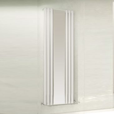 GUTHRIE SINGLE MIRROR Oval Tube Radiator, Modern, Vertical, Tall – Central Heating