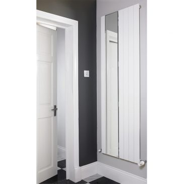 HAILWOOD SINGLE MIRROR Radiator, Modern, Vertical, Flat Panel, Tall – Central Heating