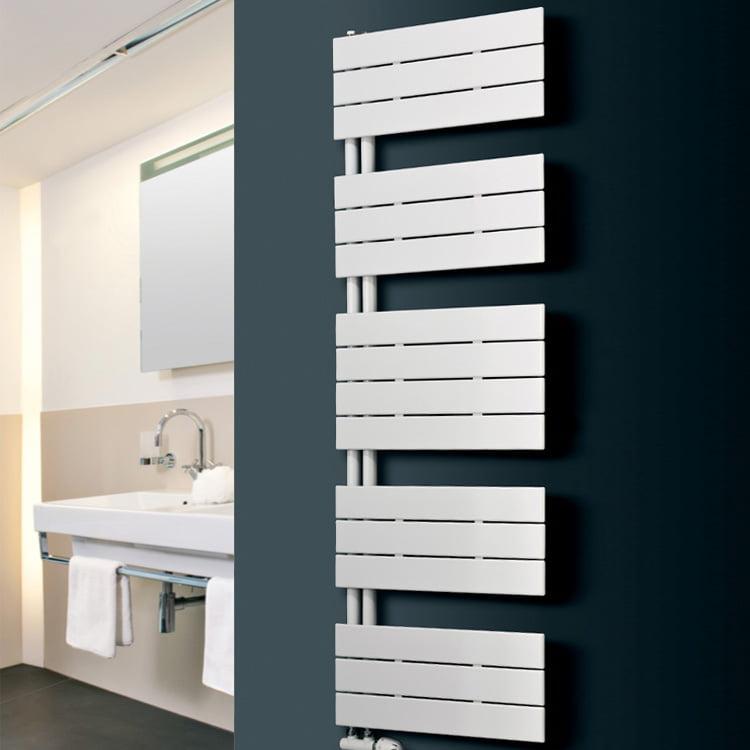 LUNAR Side Arm Flat Panel Modern Heated Towel Rail / Warmer – Central Heating