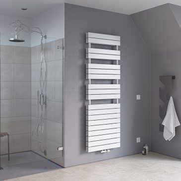 LAVANT DUO Large Flat Panel Modern Heated Towel Rail / Warmer / Radiator, White