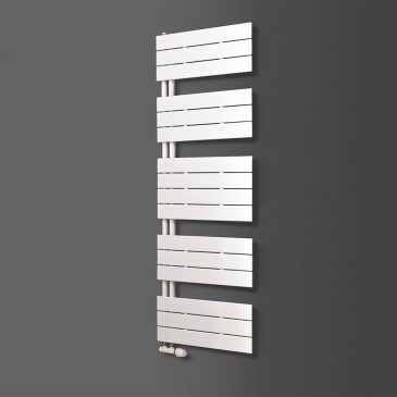 LUNAR Side Arm Flat Panel Modern Heated Towel Rail / Warmer, White