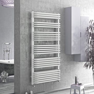 MERE Tube On Tube Curved Modern Heated Towel Rail / Warmer / Radiator, White