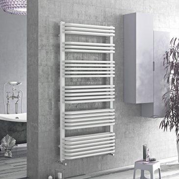 MERE Tube On Tube Curved Modern Heated Towel Rail / Warmer / Radiator, White