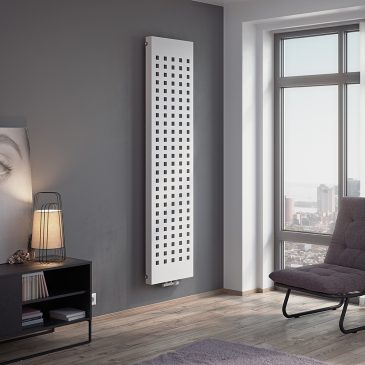 THE QUARRY Square Pattern Flat Panel Modern Vertical Radiator, Tall – Central Heating