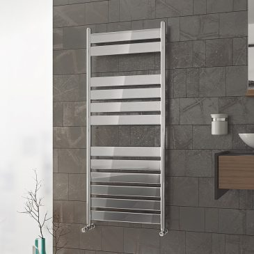 TOWER PRIME Flat Panel Modern Heated Towel Rail / Warmer / Radiator, Chrome