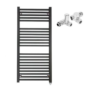 The Laurel Black Square Tube Heated Towel Rail: Dual Fuel Electric Ptc