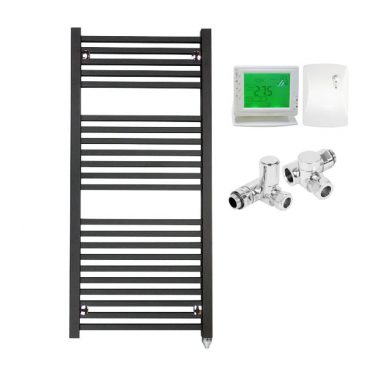 The Laurel Black Square Tube Heated Towel Rail: Dual Fuel Electric Ptc With Wireless Timer
