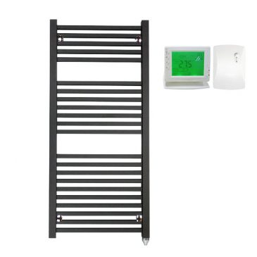 The Laurel Black Square Tube Heated Towel Rail: Electric Ptc With Wireless Timer