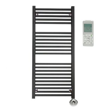 The Laurel Black Square Tube Heated Towel Rail: Thermostatic Electric