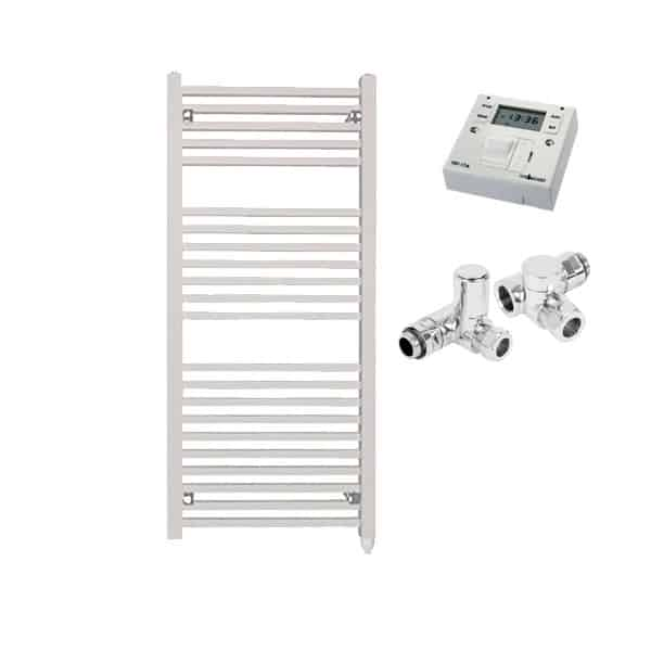 The Laurel White Square Tube Heated Towel Rail: Dual Fuel Electric Ptc With Fused Spur Timer