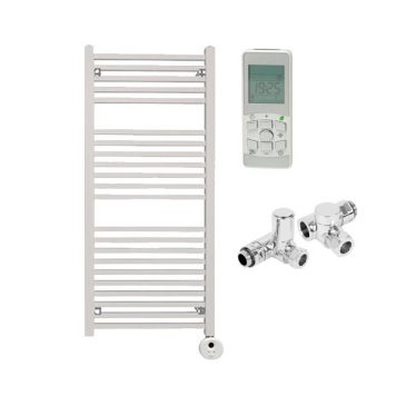 The Laurel White Square Tube Heated Towel Rail: Dual Fuel Thermostatic Electric