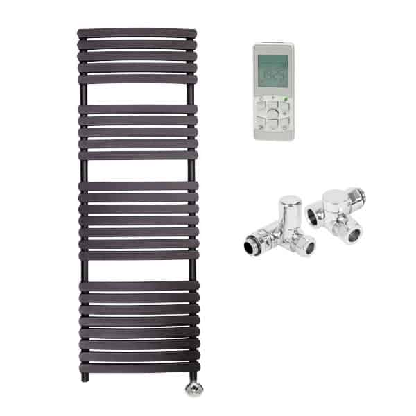 Heated Towel Rail Timer Wiring Diagram: GREEBA Flat Tube Heated Towel Rail / Warmer, Black