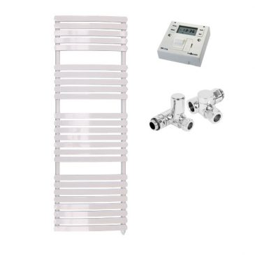 The Greeba White Designer Heated Towel Rail: Dual Fuel Electric Ptc With Fused Spur Timer