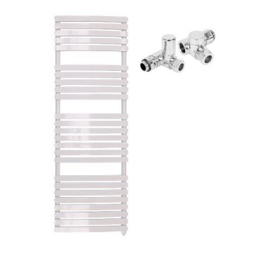 The Greeba White Designer Heated Towel Rail: Dual Fuel Electric Ptc