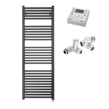 The Laurel Black Square Tube Heated Towel Rail: Dual Fuel Electric Ptc With Fused Spur Timer