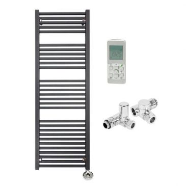 The Laurel Black Square Tube Heated Towel Rail: Dual Fuel Thermostatic Electric