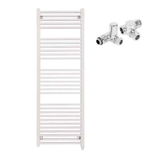 The Laurel White Square Tube Heated Towel Rail: Dual Fuel Electric Ptc