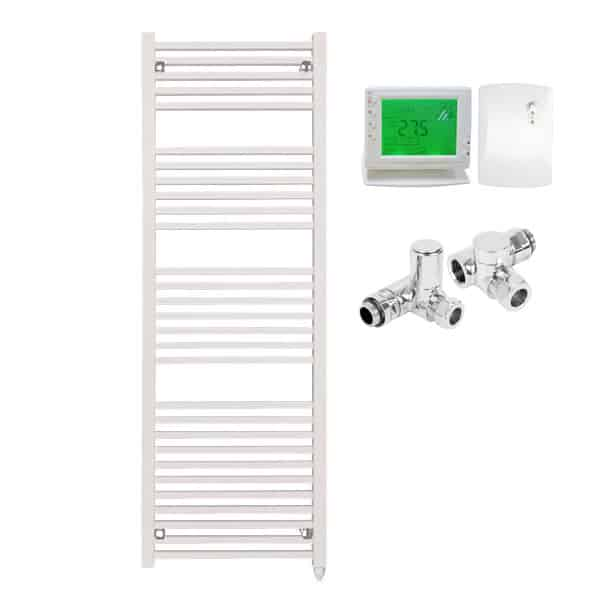 The Laurel White Square Tube Heated Towel Rail: Dual Fuel Electric Ptc With Wireless Timer