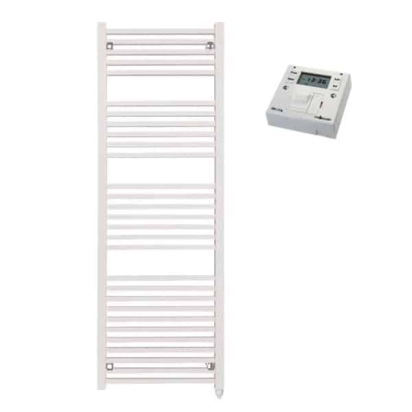 The Laurel White Square Tube Heated Towel Rail: Electric Ptc With Fused Spur Timer