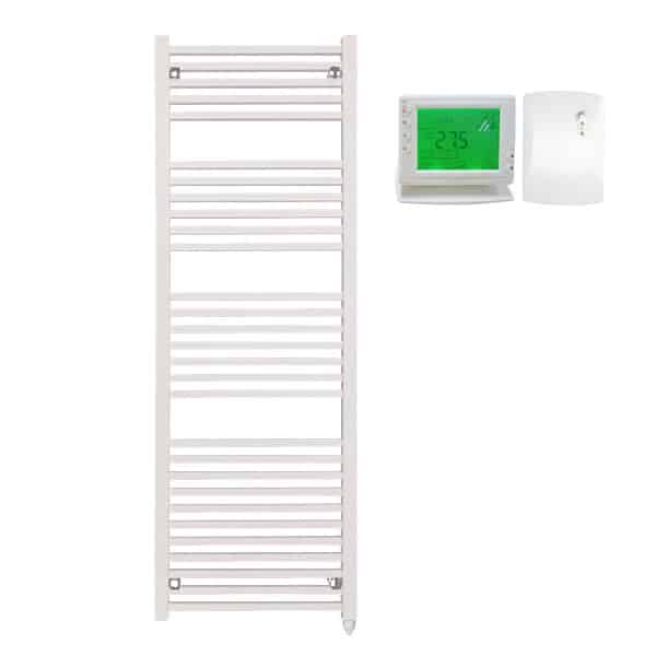 The Laurel White Square Tube Heated Towel Rail: Electric Ptc With Wireless Timer