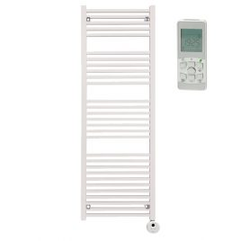 The Laurel White Square Tube Heated Towel Rail: Thermostatic Electric