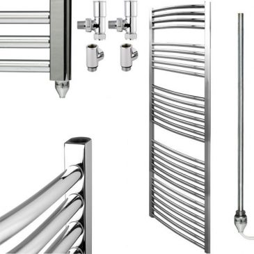 Curved Chrome Heated Towel Rail Dual Fuel Electric Ptc The Bray