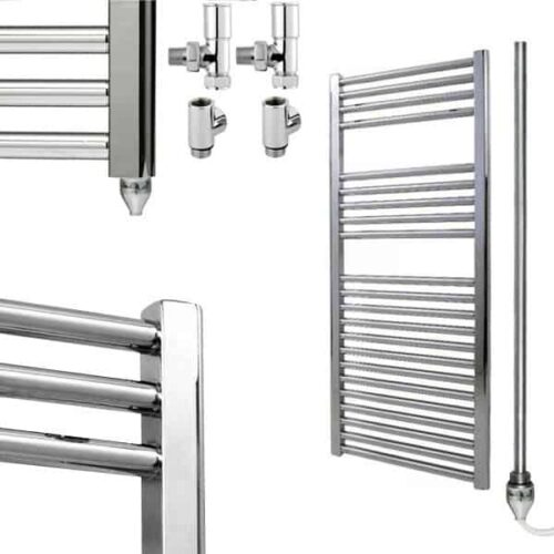 Straight Chrome Heated Bathroom Towel Rail Dual Fuel Electric Ptc The Bray