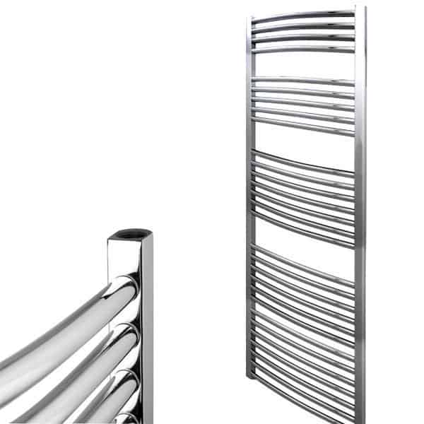 Curved Chrome Central Heating Ladder Towel Rail The Bray