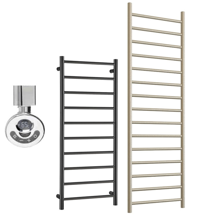 ALPINE ELEMENTS Heated Towel Rail / Warmer – Electric + Thermostat, Timer