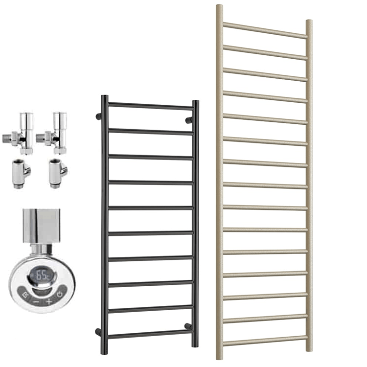 ALPINE ELEMENTS Heated Towel Rail / Warmer – Dual Fuel + Thermostat, Timer