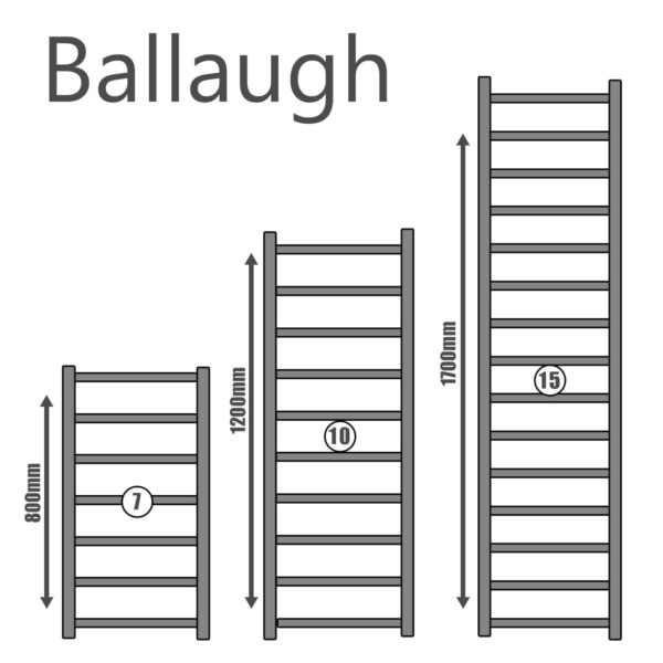 Ballaugh Modern Heated Towel Rail Warmer Radiator, Square Tube Chrome - Size Guide