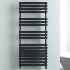 Greeba Electric Black Flat Bar Designer Heated Towel Rail: Filled & Ptc