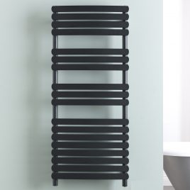 The Greeba Black Designer Heated Towel Rail: Dual Fuel Electric Ptc