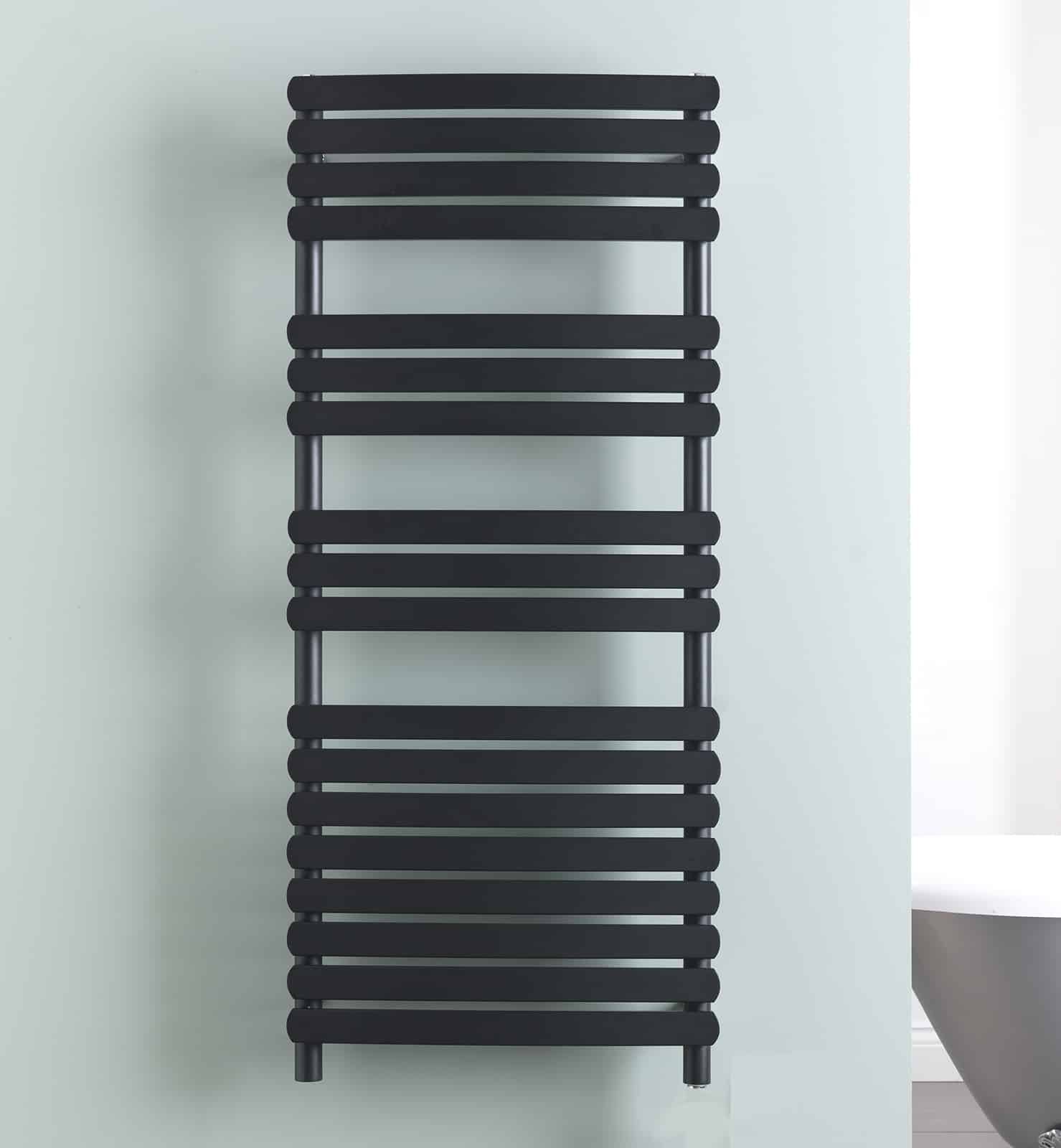 Greeba Modern Electric Heated Towel Rail Warmer Radiator, Curved Flat Panel Black + Fused Spur Timer