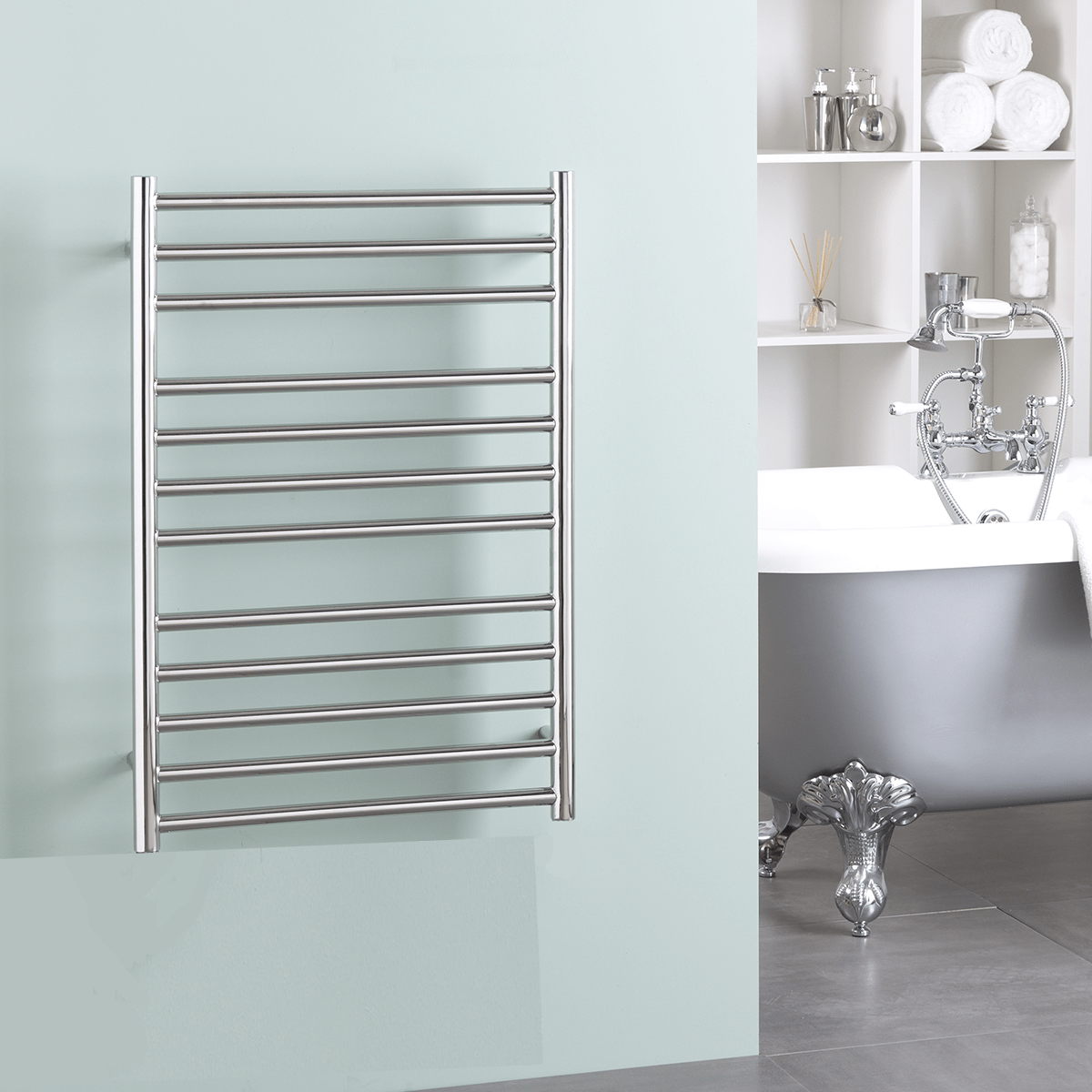 BRADDAN Stainless Steel Modern Heated Towel Rail / Warmer / Radiator – ELECTRIC + Fused Spur Timer BUY ONLINE