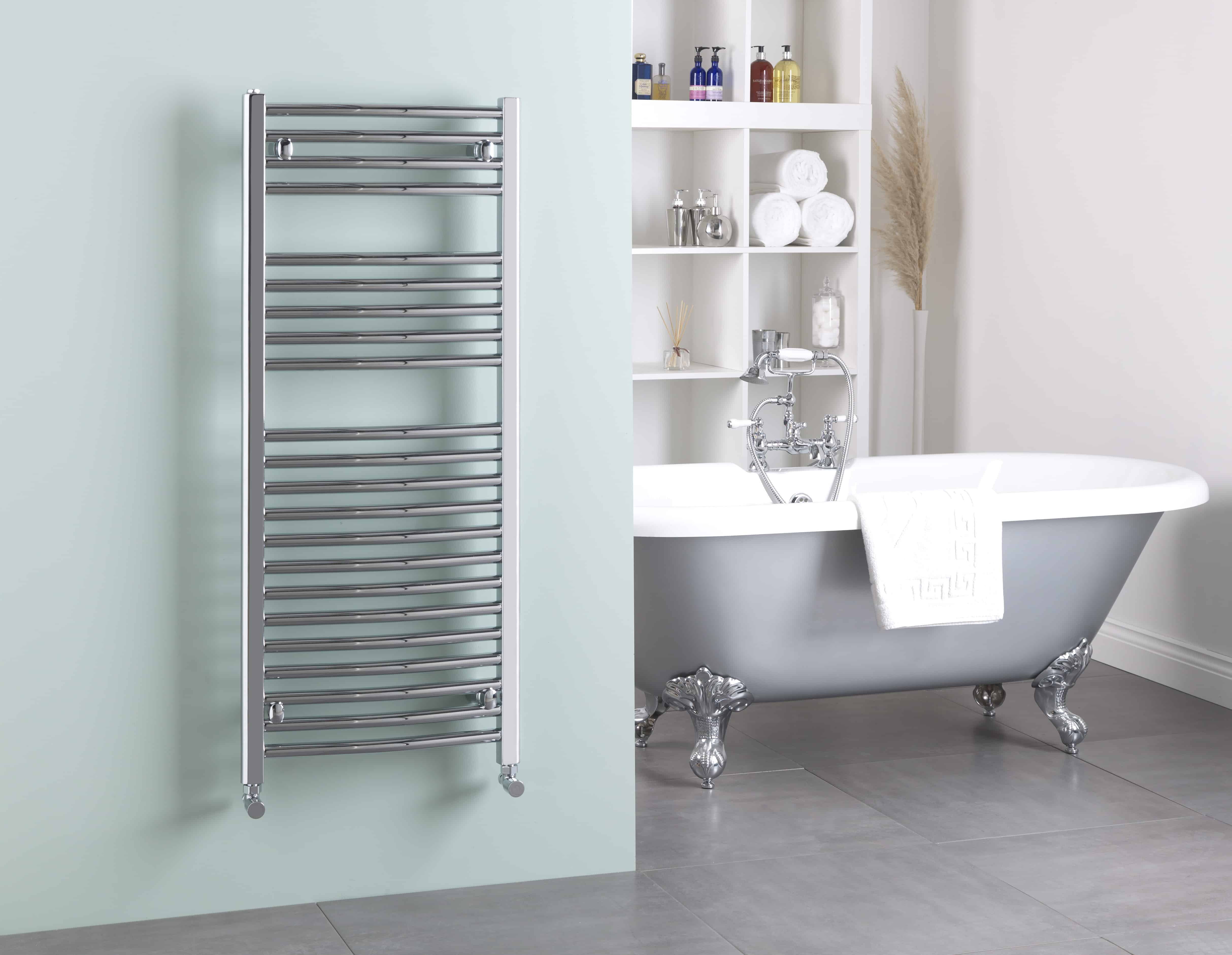 Bray Curved Chrome Heated Ladder Towel Rail, Supplied with PTC (on ...