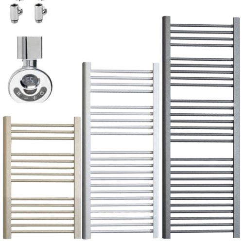 BRAY ELEMENTS Straight Heated Towel Rail / Warmer / Radiator - Dual Fuel