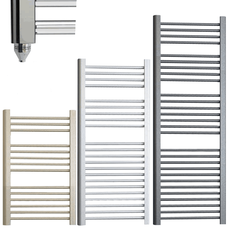 BRAY ELEMENTS Straight Heated Towel Rail / Warmer / Radiator – Electric