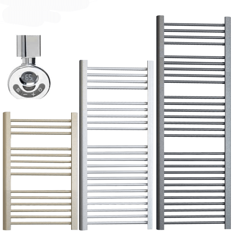 BRAY ELEMENTS Straight Heated Towel Rail / Warmer – Electric + Thermostat, Timer