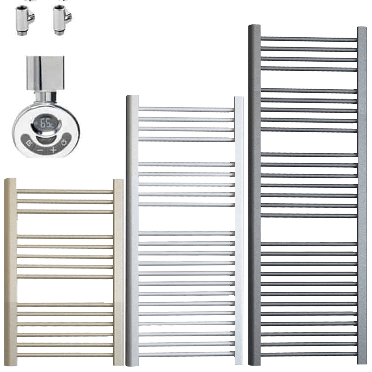 BRAY ELEMENTS Straight Heated Towel Rail / Warmer – Dual Fuel + Thermostat, Timer