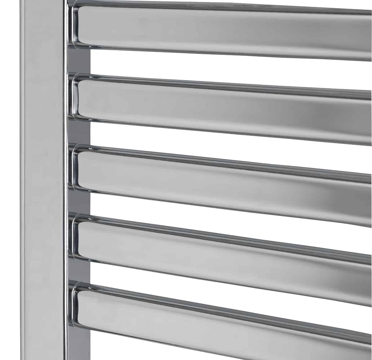 14 Rung Electric Heated Towel Rail: CROSBY Flat Tube Modern Heated Towel Rail, Chrome