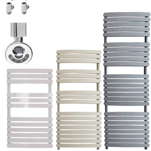 GREEBA ELEMENTS Flat Panel Heated Towel Rail / Warmer - Electric + Thermostat, Timer