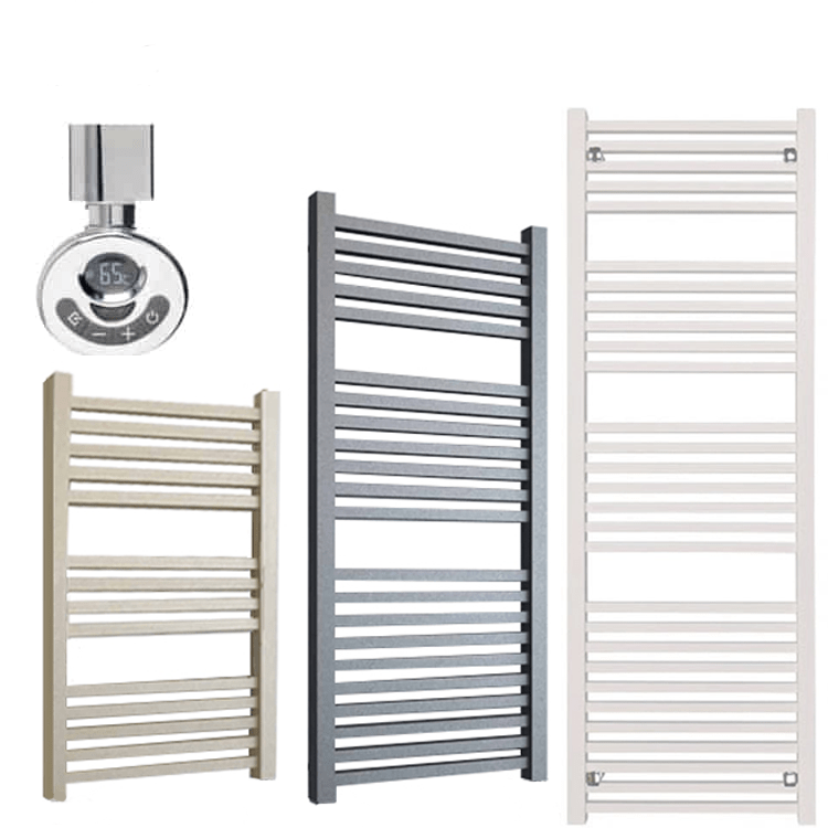 LAUREL ELEMENTS Square Tube Heated Towel Rail / Warmer – Electric + Thermostat, Timer