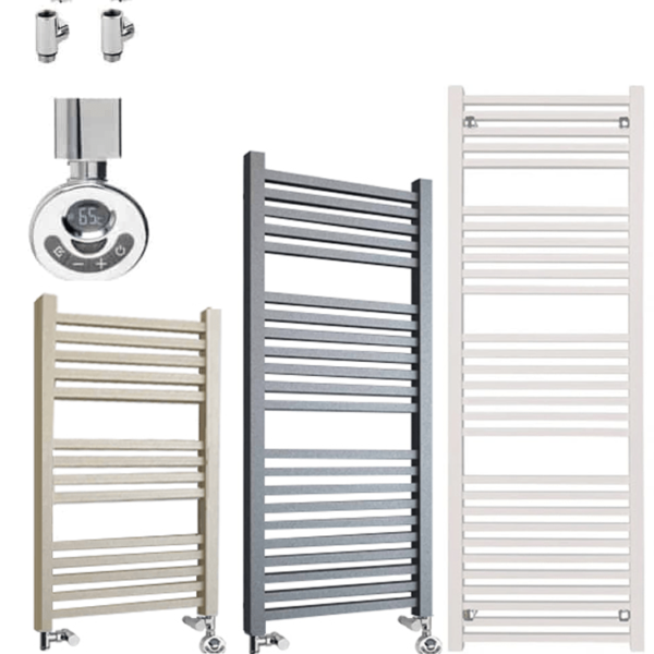 LAUREL ELEMENTS Square Tube Heated Towel Rail - Dual Fuel + Thermostat, Timer