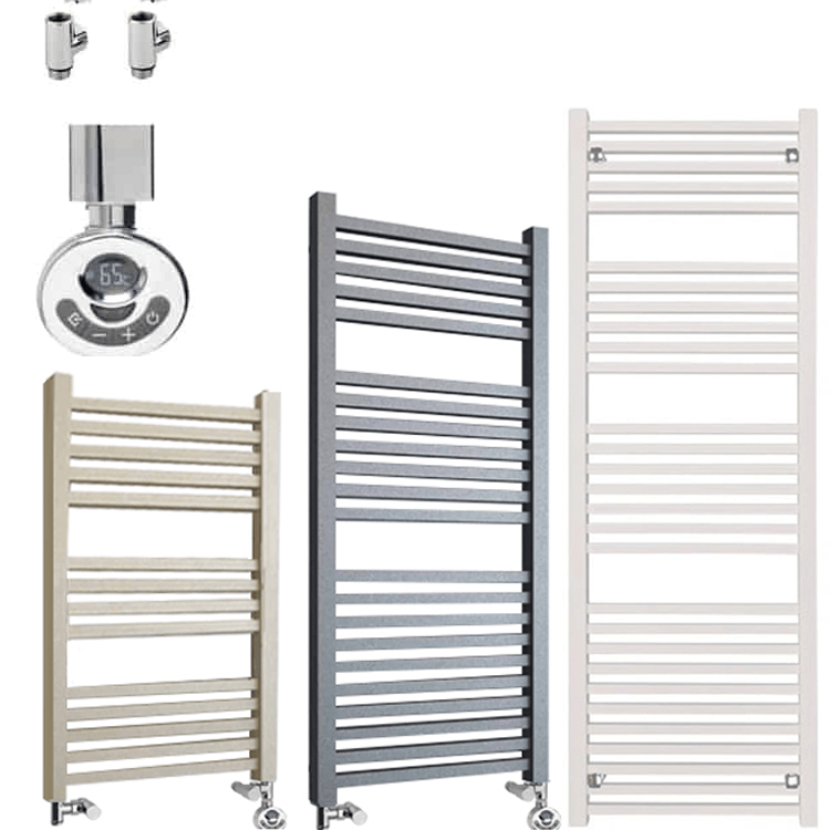 LAUREL ELEMENTS Square Tube Heated Towel Rail – Dual Fuel + Thermostat, Timer