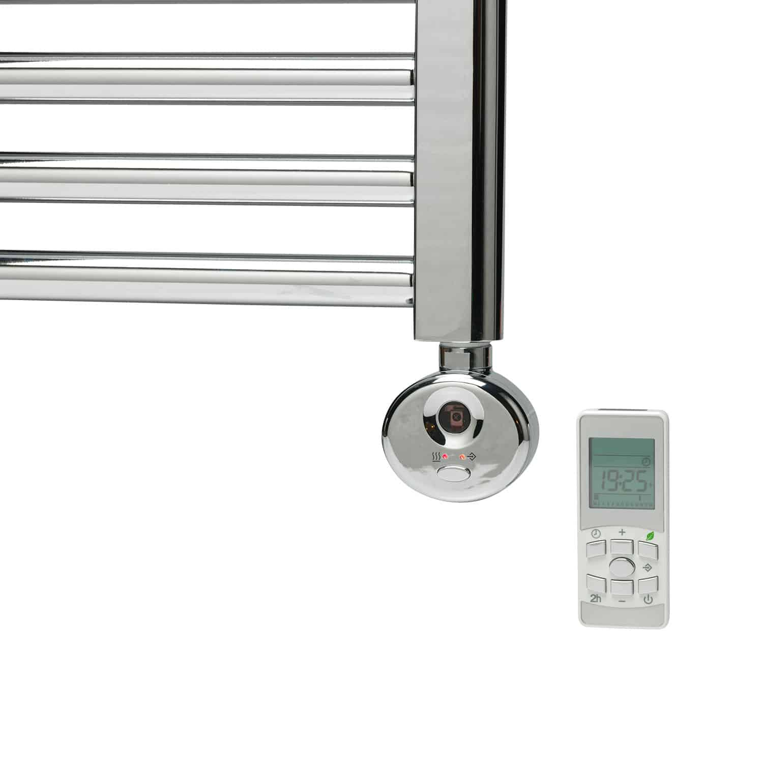 Bray Straight Towel Warmer Heated Towel Rail Chrome Electric Thermostat Timer
