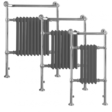 RAMSEY Lava Grey (Anthracite) Traditional Victorian Heated Towel Rail / Radiator – Electric
