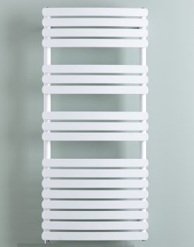 Greeba Modern Dual Fuel Thermostatic Electric Heated Towel Rail Warmer Radiator, Curved Flat Panel White + Timer, Remote